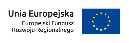Po lewej tekst Unia Europejska Europejski Fundusz Rozwoju Regionalnego. Po prawej granatowa flaga z 12 złotymi gwiazdami w kręgu.