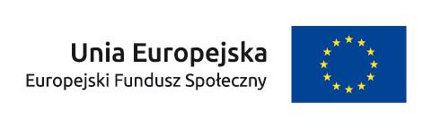 Po lewej tekst Unia Europejska Europejski Fundusz Społeczny. Po prawej granatowa flaga z 12 złotymi gwiazdami w kręgu.