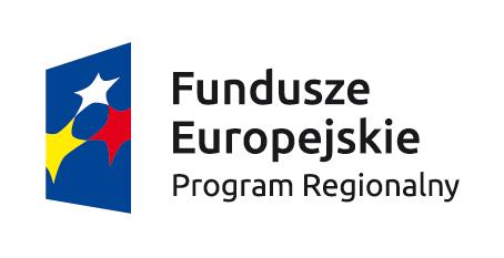 Niebieski trapez z trzema gwiazdami w kolorze białym, żółtym, czerwonym. Po prawej stronie tekst Fundusze Europejskie Program Regionalny.