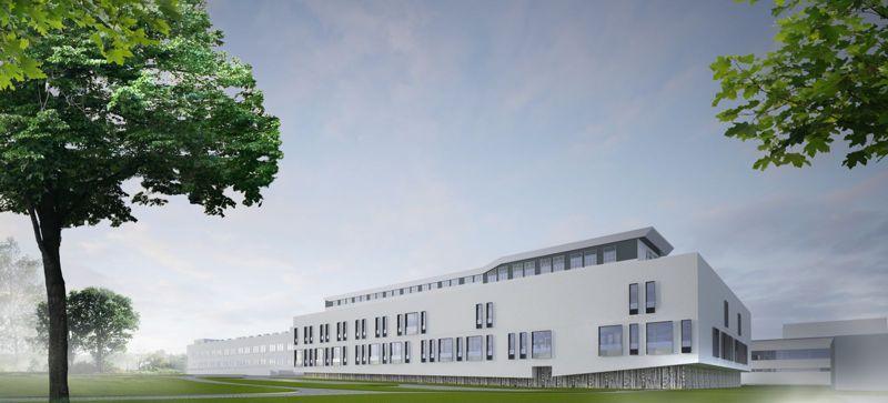 Wizualizacja szpitala świętego wojciecha na zapsie. W centrum nowoczesny biały budynek. Po lewej i prawej stronie drzewa